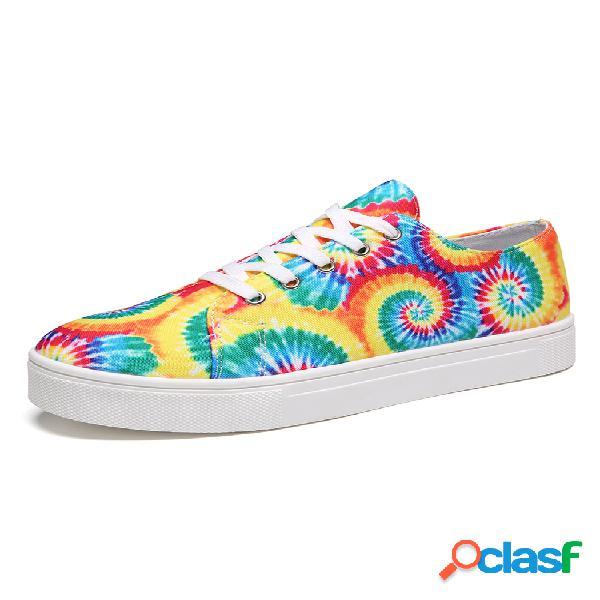 Zapatos de skate casuales con efecto tie dye de gran tamaño con cordones en la parte delantera para mujer
