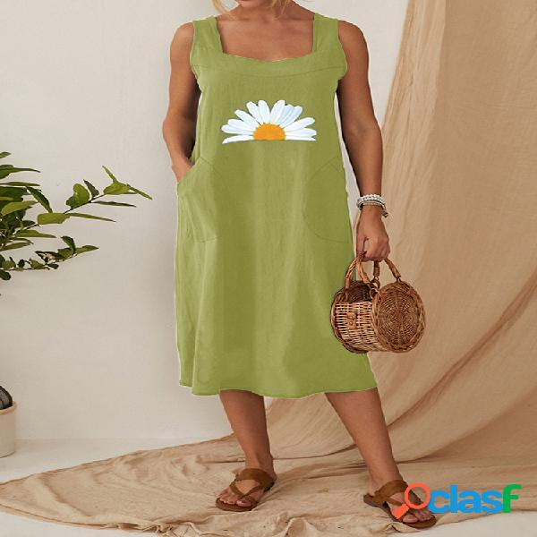 Bolsillos con tirantes con estampado de margaritas vendimia vestido para mujer
