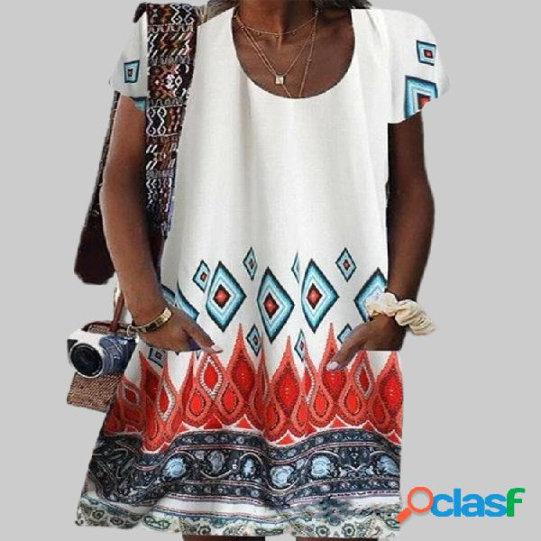 Manga corta estampada geométrica étnica vendimia vestido para mujer