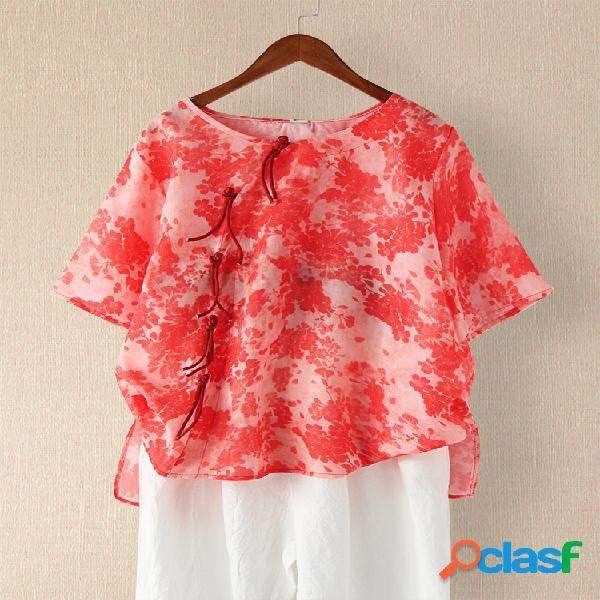 Vendimia hoja blusa de media manga con cuello redondo estampado para mujer