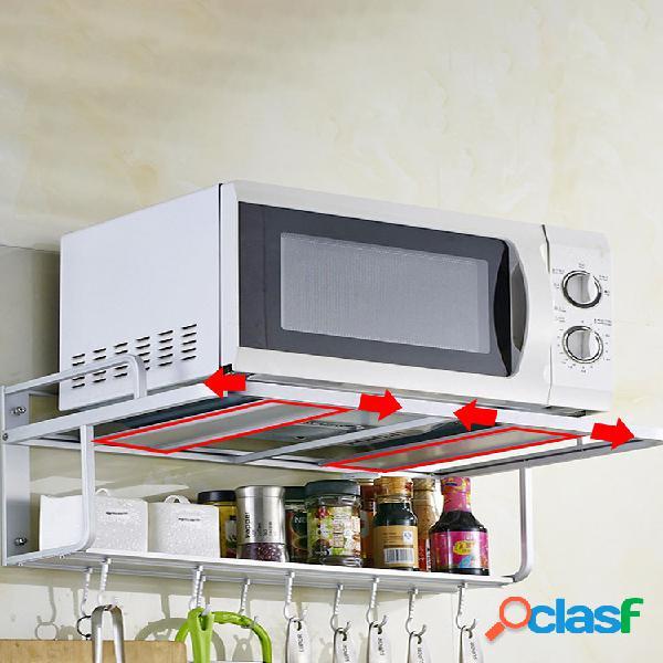 Soporte de aluminio para microondas de 2 niveles, soporte de montaje en pared, estante de almacenamiento de cocina