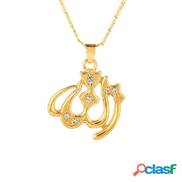 Clásico allah collar joyería religión islam islam colgantes collares para hombres mujeres