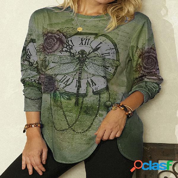 Vendimia blusa asimétrica estampada de manga larga con cuello redondo para mujer