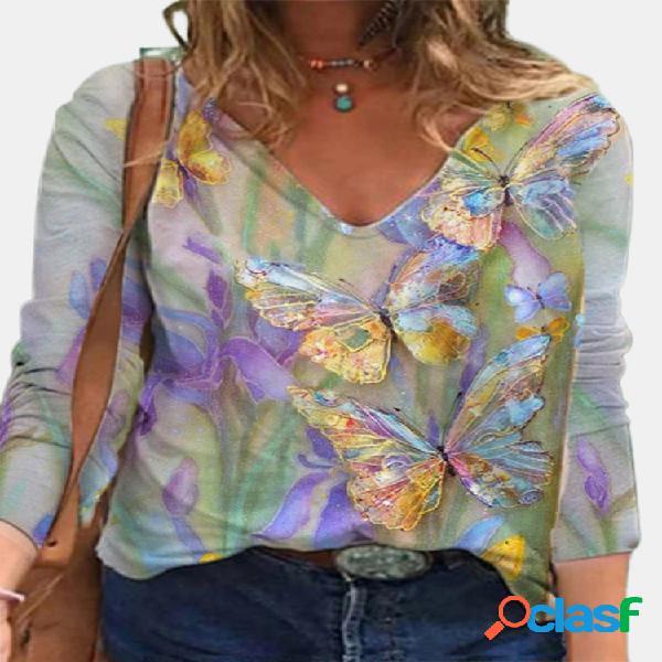 Blusa multicolor con estampado de flores y mariposas de manga larga vendimia para mujer