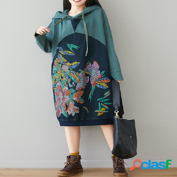 Patchwork estampado floral con capucha vendimia vestido para mujer