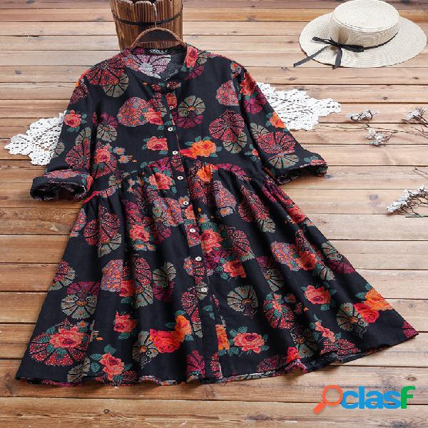 Estampado floral étnico manga larga vendimia vestido para mujer