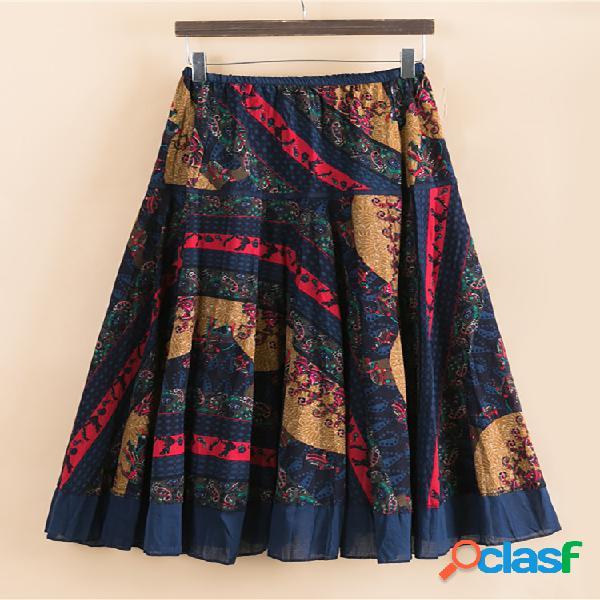 Vendimia falda de cintura elástica con parche estampado para mujer