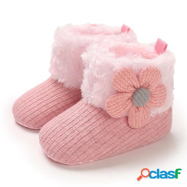 Zapatos para bebés pequeños apliques de punto bonitos decoración cómodo felpa cálido soft nieve botas