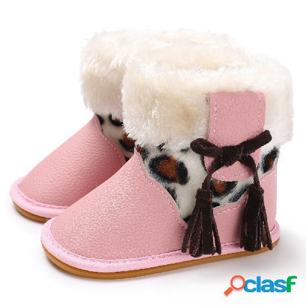 Zapatos para bebés pequeños bonitos cordones con borlas decoración comfy plush warm antideslizante soft gancho loop snow botas