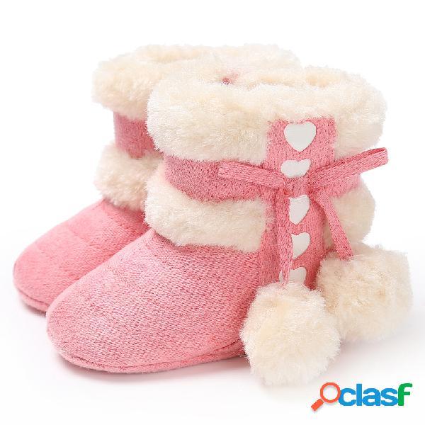Zapatos para bebés pequeños bonitos cordones decoración de bolas esponjosas cómodo felpa cálida soft nieve botas