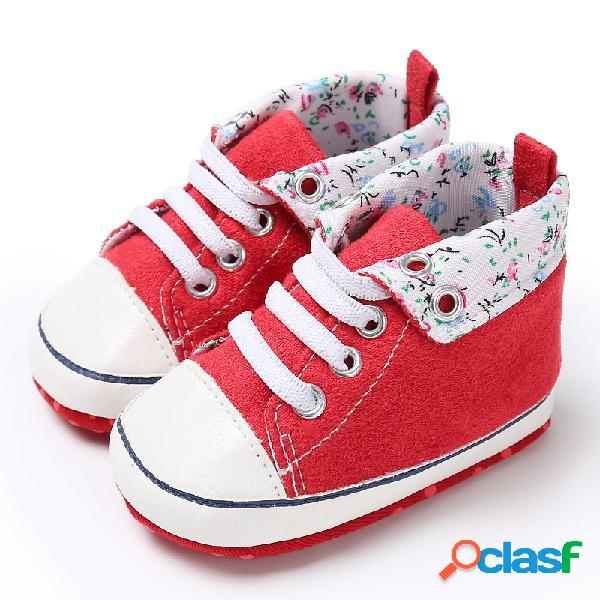 Zapatos para bebés pequeños, cómodos y bonitos, antideslizantes soft zapatos de lona casuales con cordones