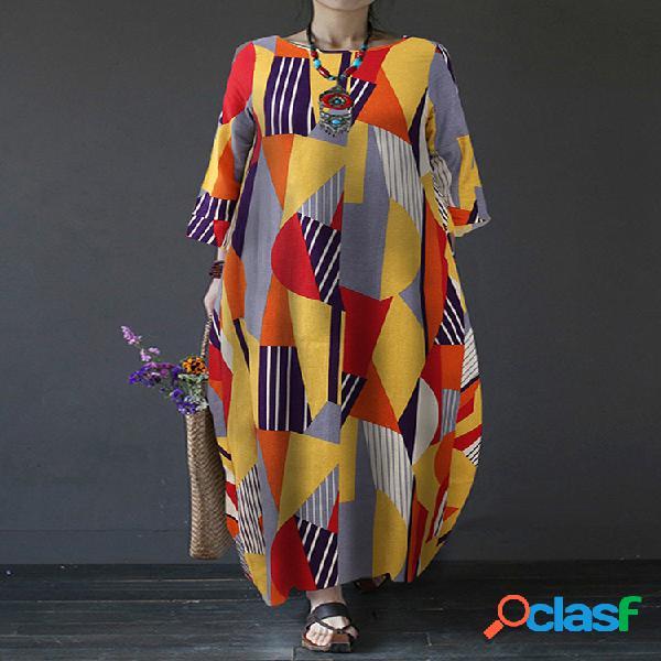 Color de contraste estampado geométrico manga larga vendimia vestido para mujer