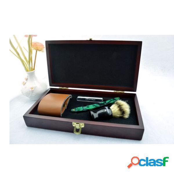 Caja de madera vintage shaver set plegable borde recto shaver shaving brush pu cuero strop razor kit