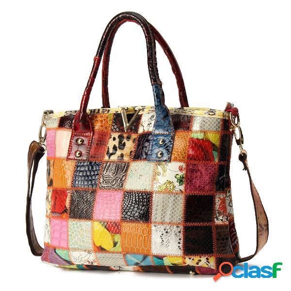 Mujer piel genuina vendimia bolsos tote crossbody de costura de gran capacidad bolsa