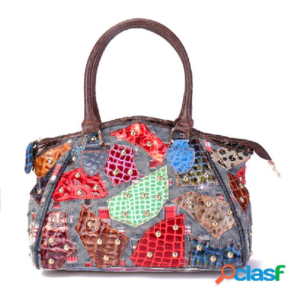 Mujer costura patchwork hecho a mano vendimia piel genuina bolsos