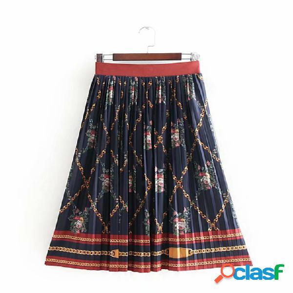 Mujer vendimia falda de cintura elástica plisada con estampado floral étnico