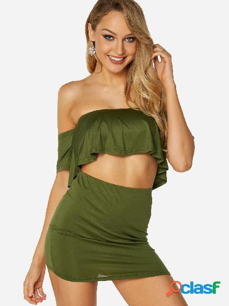 Trajes de dos piezas con cintura alta y mangas anchas en el hombro de amy green off the houlder