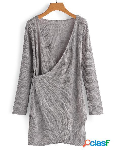 Gris cruzado diseño frontal llanura cuello en v profundo mangas largas vestidos
