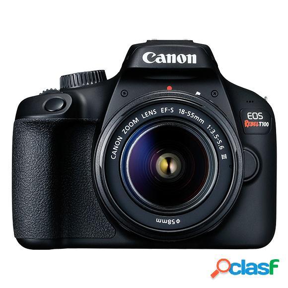 Cámara digital canon eos rebel t100, 18mp, zoom óptico 10x, negro
