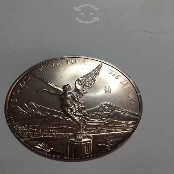 Moneda de 5 onzas plata pura serie libertad .999