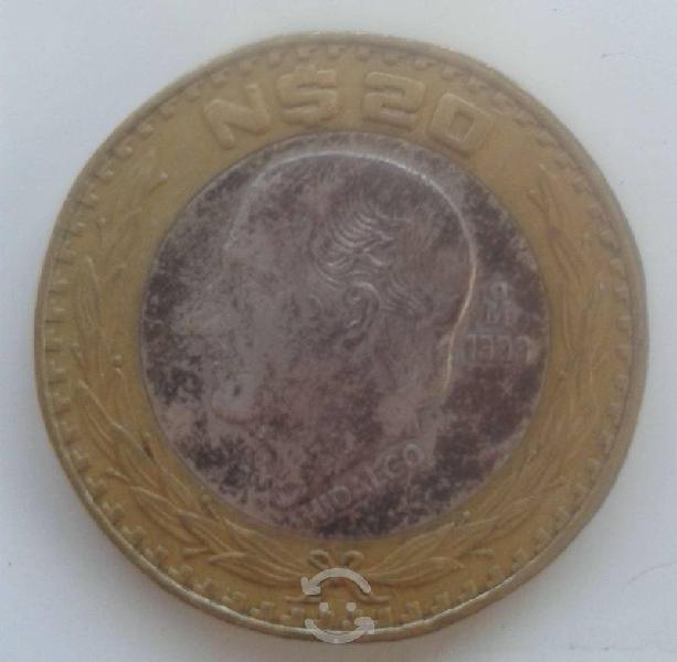 Moneda de hidalgo, 20 nuevos pesos bimetálica 1993