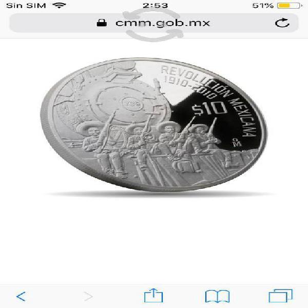 Moneda de plata el ferrocarril revolución mexicana