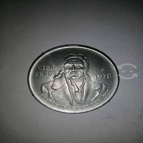 Moneda de plata pura 0720 de 100 pesos año 1978