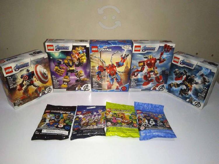 Paquete 5 legos armaduras robóticas y 4 minifigura