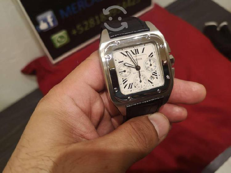 Reloj pulsera cartier santos 100 chrono xl suizo