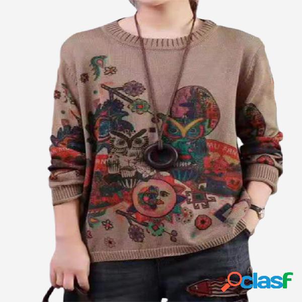 Vendimia jersey de manga larga con cuello en o estampado para mujer