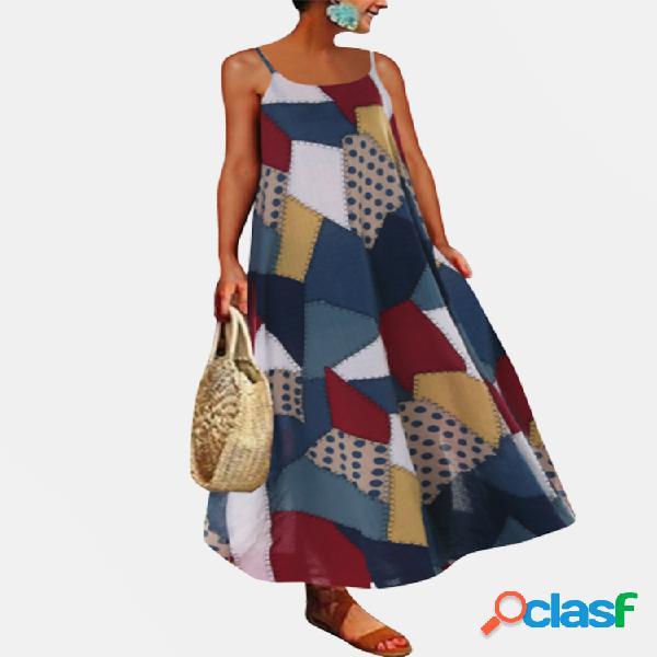 Vendimia cremallera con estampado geométrico maxi vestido para mujer