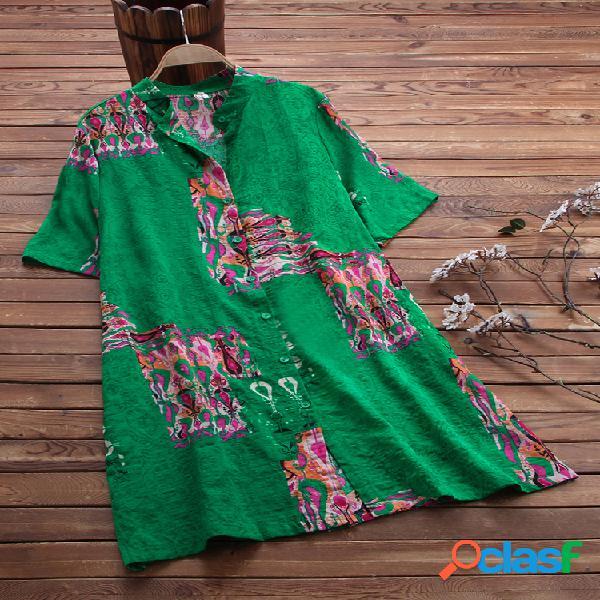 Vendimia cuello alto estampado suelto largo camisa para mujer