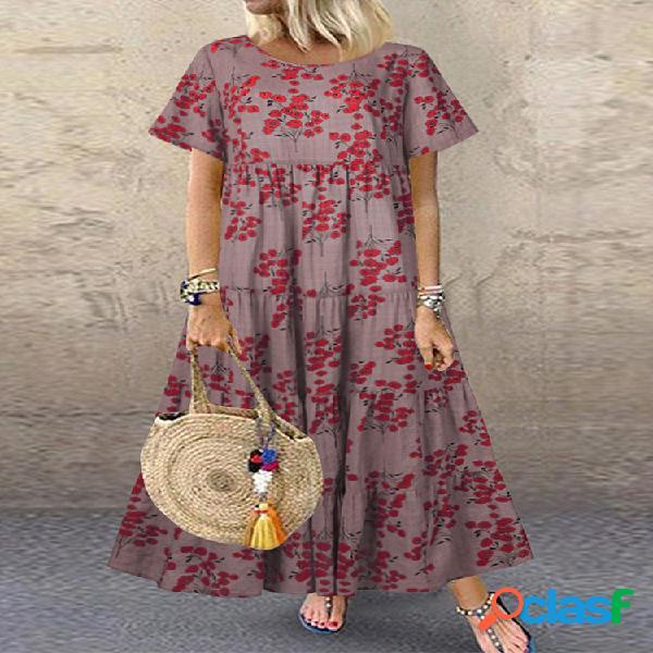 Vendimia estampado de flores manga corta casual vestido para mujer