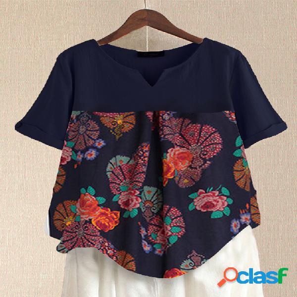 Vendimia estampado patchwork plus talla camiseta para mujer