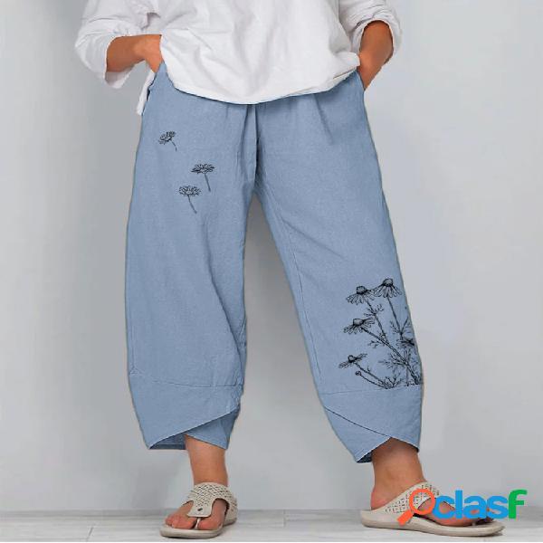Vendimia flor impresa cintura elástica suelta pantalones para mujer