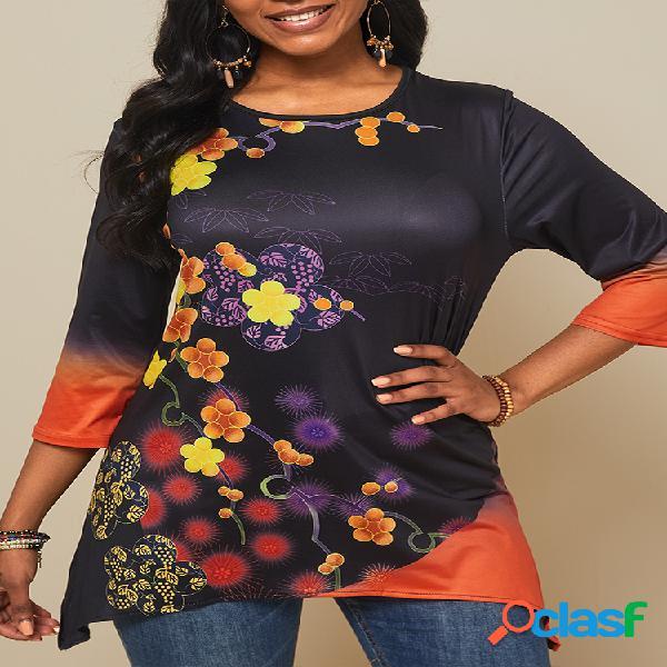 Vendimia camiseta asimétrica con cuello redondo y estampado de flores para mujer