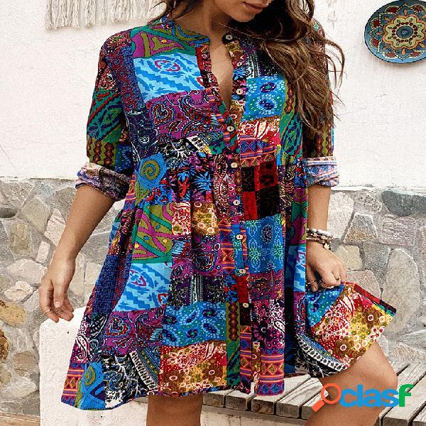 Estampado étnico manga larga vendimia cuello alto vestido para mujer