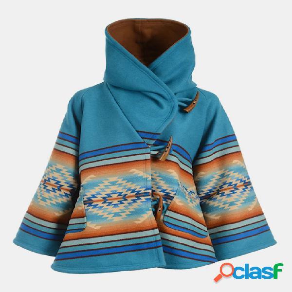 Vendimia abrigo de manga larga con capucha y estampado geométrico para mujer