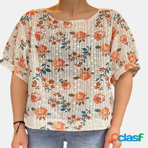 Blusa de manga corta bordada con estampado floral vendimia para mujer