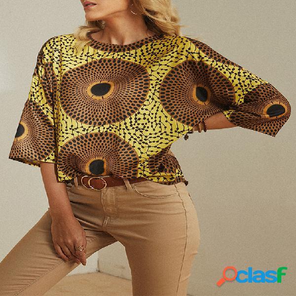 Vendimia blusa casual estampada con cuello en o para mujer