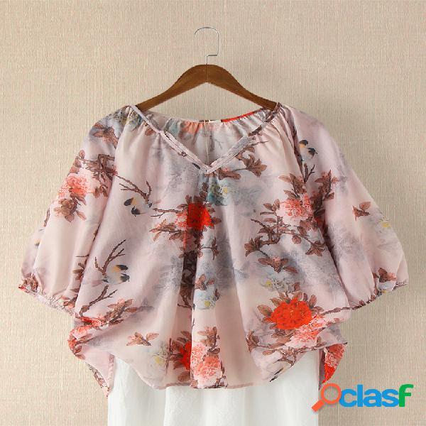 Vendimia estampado de flores con muescas cuello blusa casual para mujer