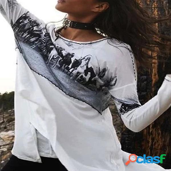 Vendimia blusa de manga larga con estampado de patchwork para mujer