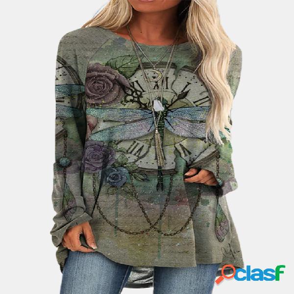Vendimia camiseta larga con cuello redondo y estampado de libélulas para mujer