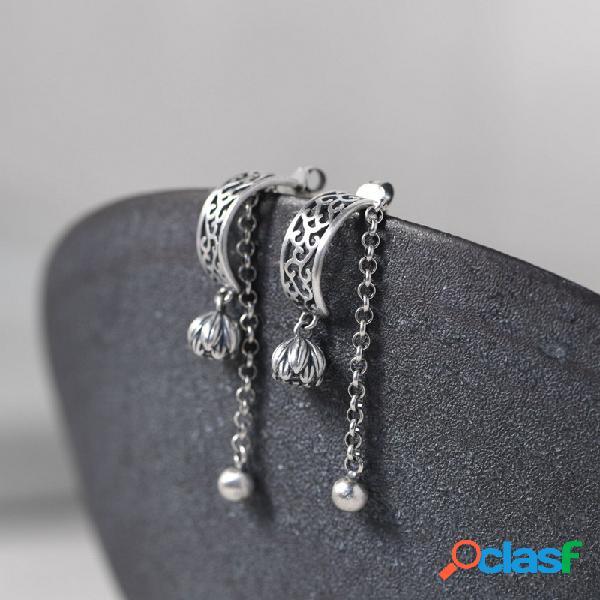 Vendimia plata de ley 925 mate oreja botón de botón de flor cadena de perlas borla de bola pequeña mujer pendientes