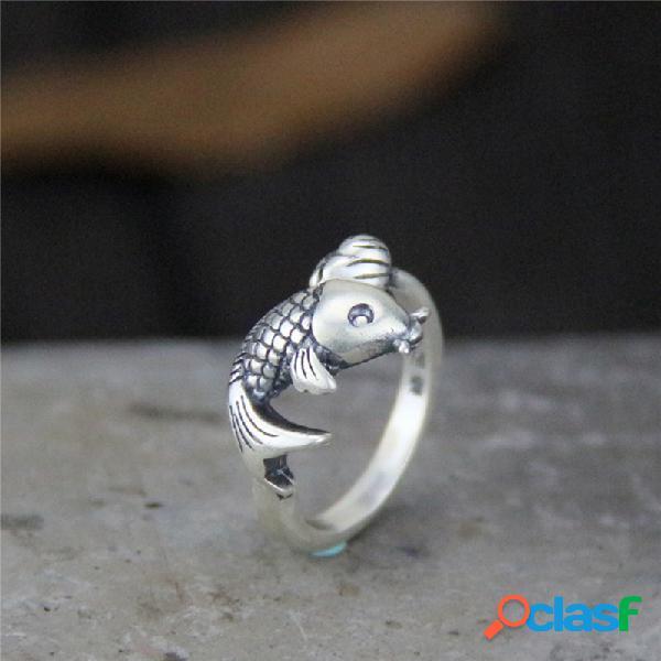 Vendimia plata de ley 999 pendientes capullo de flor de pez abierto de plata tailandesa mujer anillo