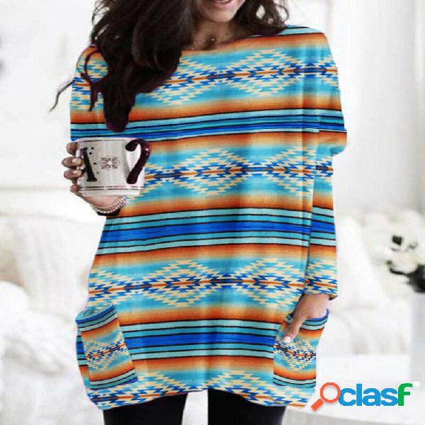 Blusa con cuello redondo y manga larga con estampado de rayas étnicas vendimia para mujer