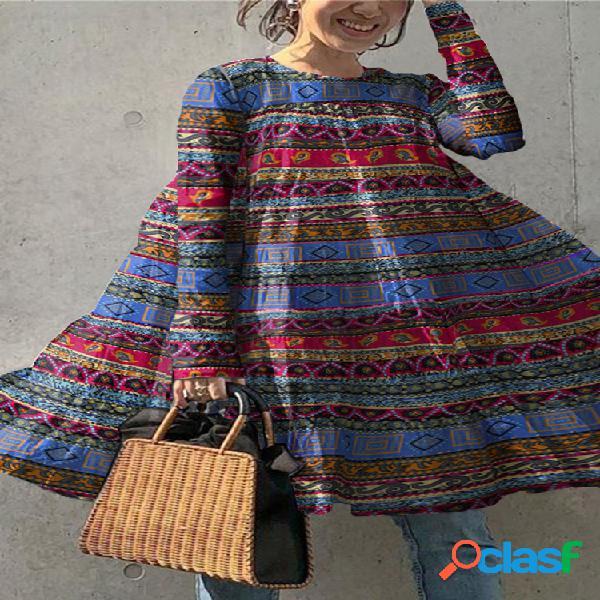 Blusa con estampado de rayas étnicas y cuello en o vendimia blusa para mujer