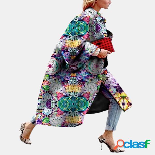 Vendimia abrigo de cuello vuelto de manga larga con estampado de flores para mujer