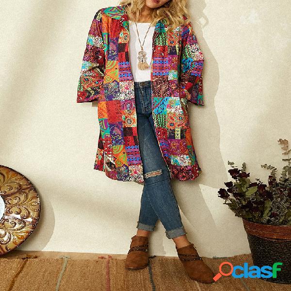 Vendimia abrigo estampado de patchwork con cuello vuelto y manga larga para mujer