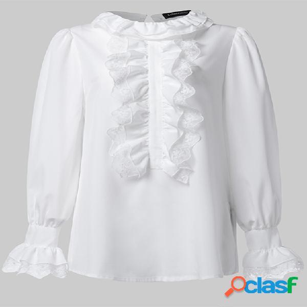 Vendimia corte estilo volantes camisa elegante mujer blusa